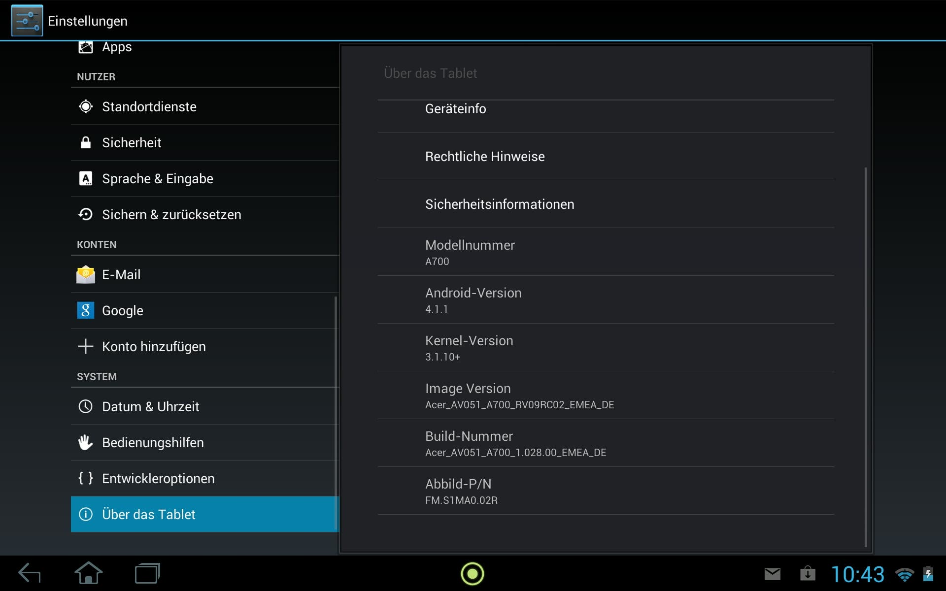 Acer Iconia Tab A700 Jelly Bean Update
