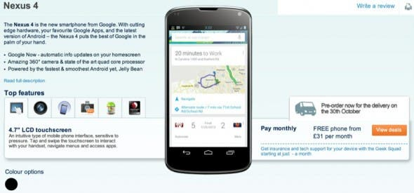 LG Google Nexus 4 Carphone Warehouse