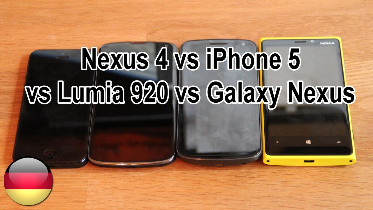 Nexus 4 vs iPhone 5 vs Galaxy Nexus vs Lumia 920