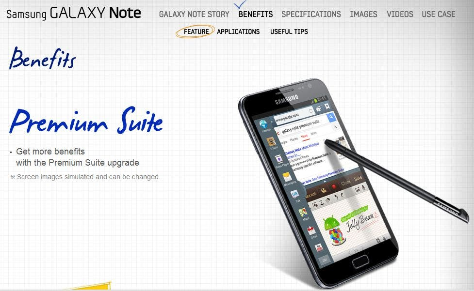 Samsung Galaxy Note Premium Suite