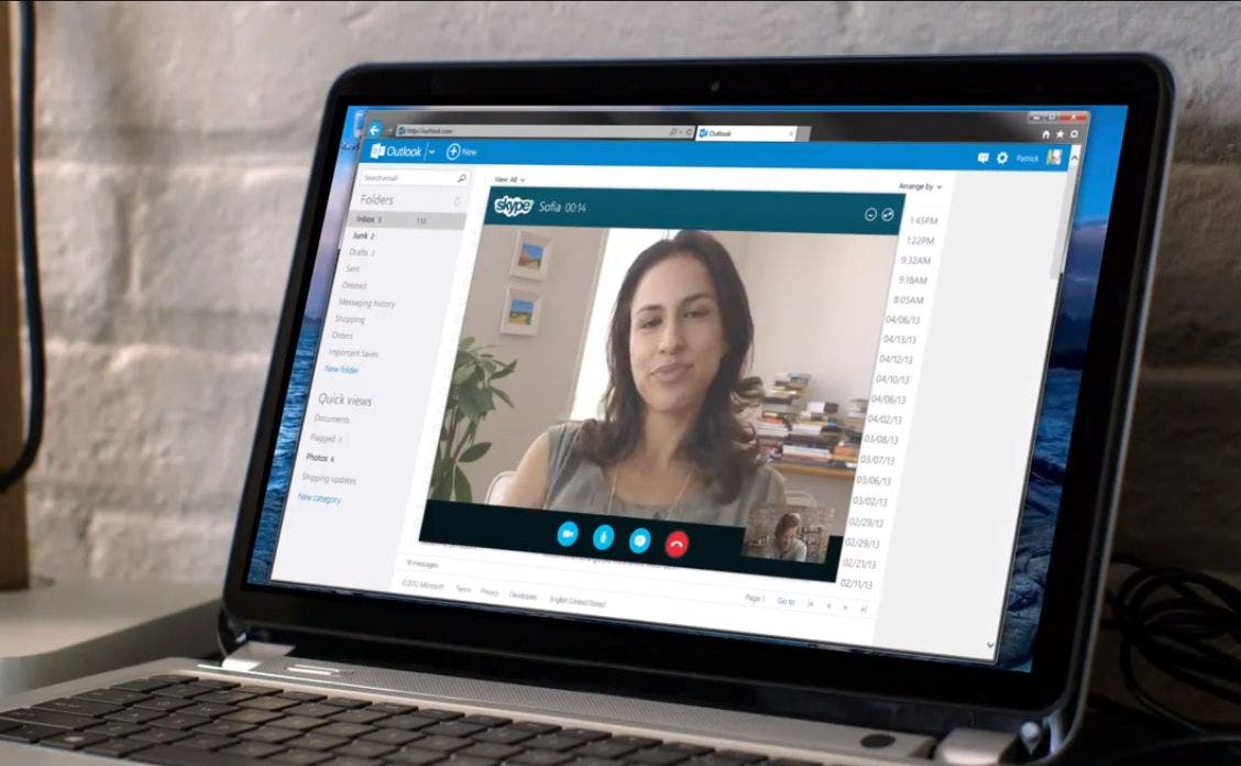 Skype video calls in outlook