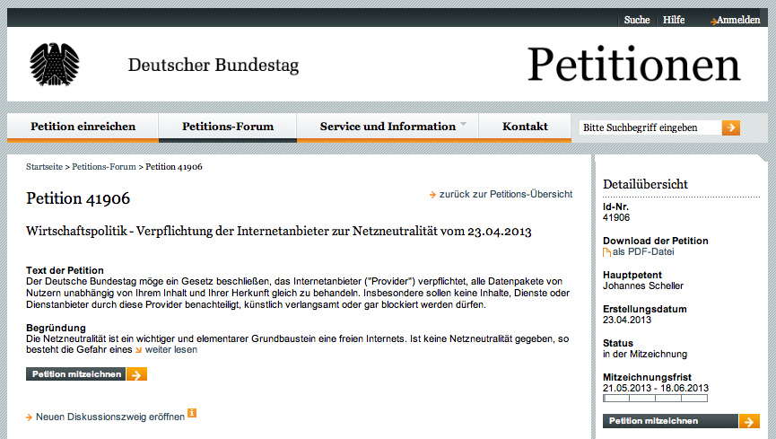 Petition Deutscher Bundestag