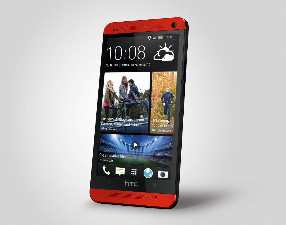 HTC One red front 34 left