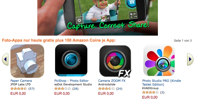 Amazon Foto Apps und Coins Aktion