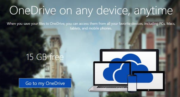 OneDrive Landingpage mit der Überschrift 'OneDrive on any device, any time' und dem Angebot '15 GB free'.