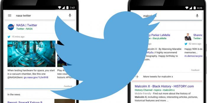 Twitter Google Mobile Search