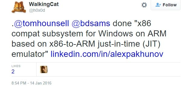 x86 subsystem ARM Windows 10 Tweet