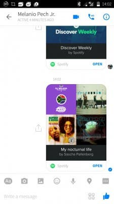 Facebook Messenger Spotify Share 2