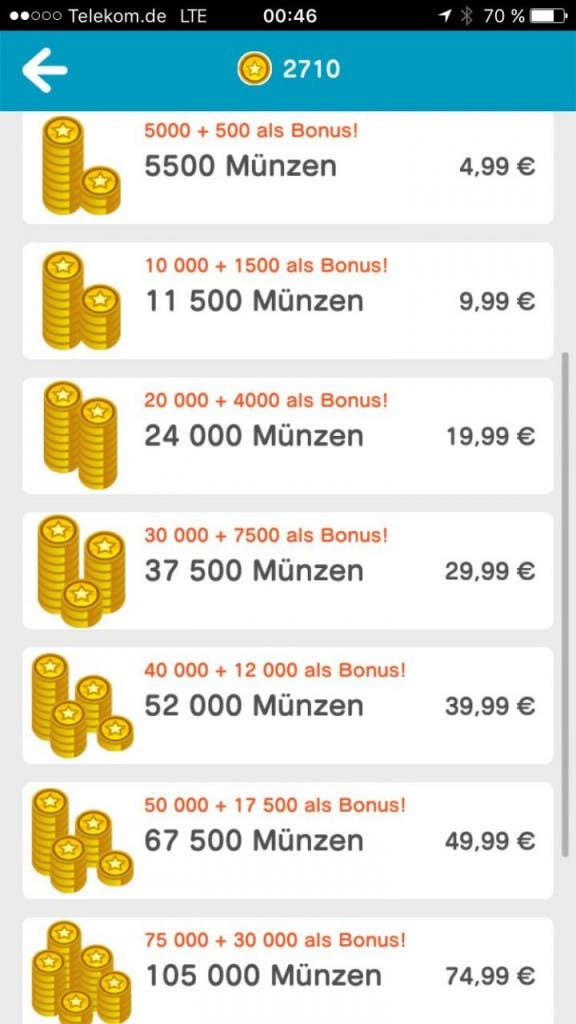 Miitomo Screenshot Geld