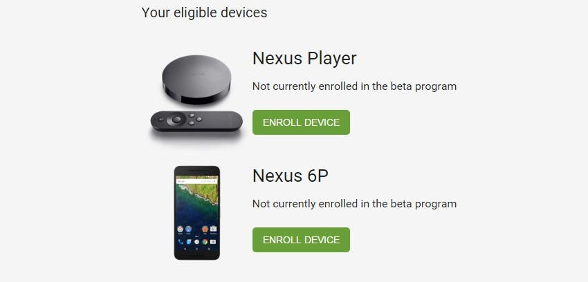 Nexus Android Beta Program