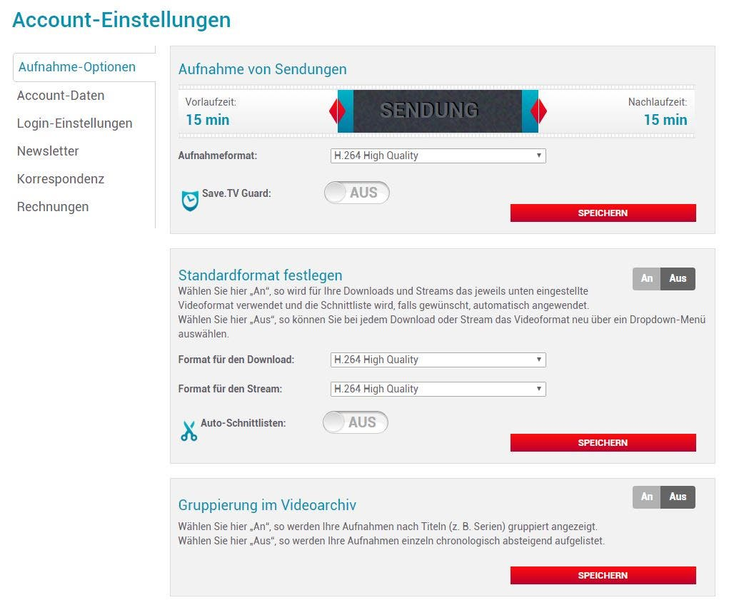 SaveTV_Account_Einstellungen