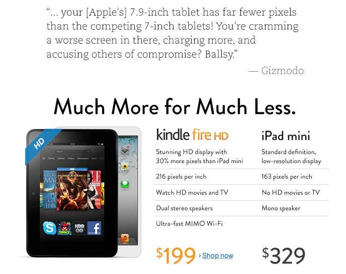 amazon kindle fire hd vs apple ipad mini