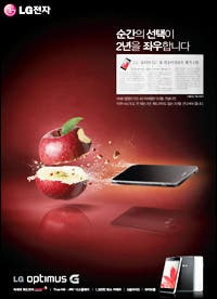 LG Optimus G vs Apple