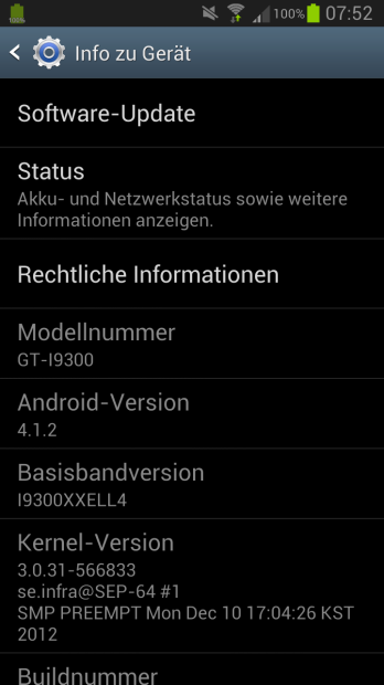 Samsung Galaxy S3 Update auf Android 4.1.2