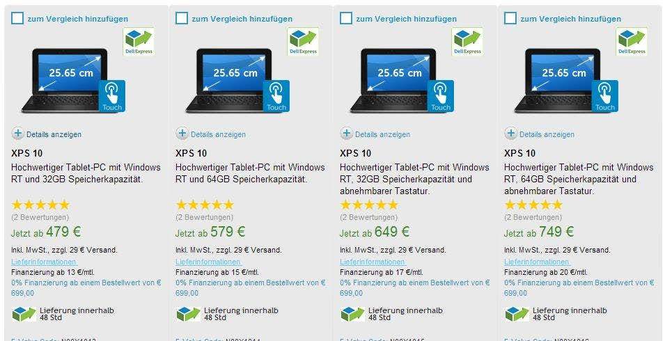 Dell XPS 10 lieferbar