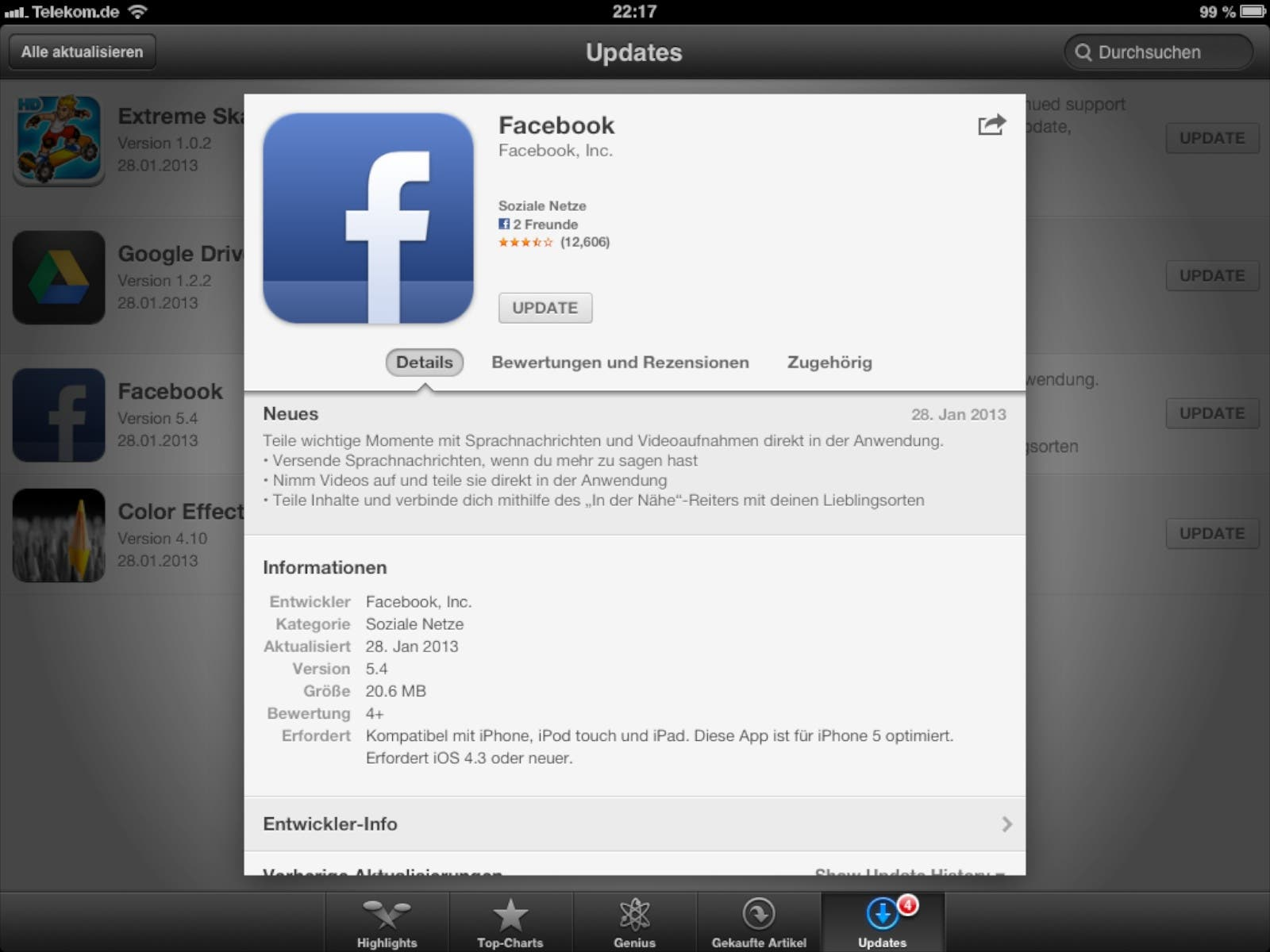 Update Facebook fuer iOS