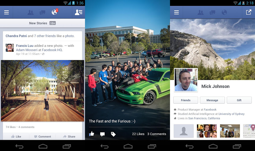 Facebook Android Update