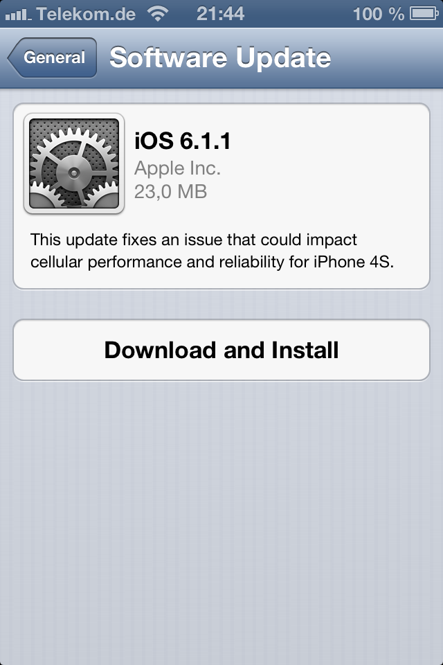 Apple iOS 6.1.1 fuer iPhone 4S