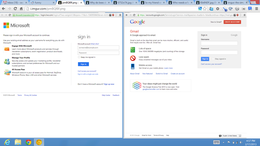 Google vs Microsoft Login