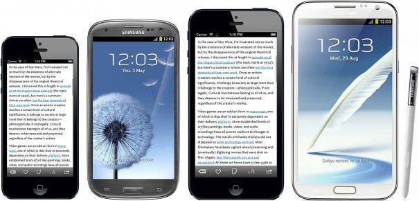 iPhone 5 vs. Galaxy S3 vs. iPhone Plus vs. Galaxy Note 2