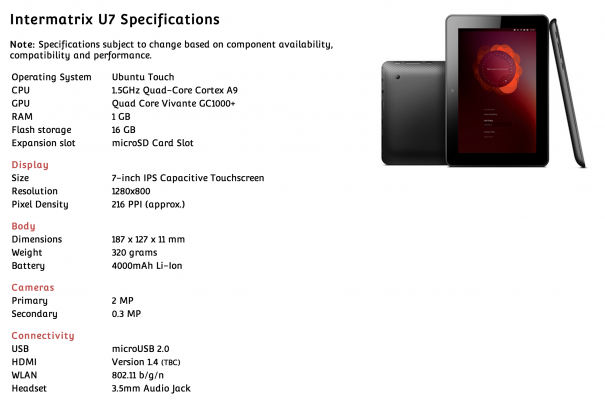 Intermatrix U7 Ubuntu Tablet Specs