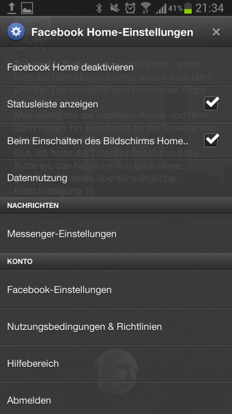 Facebook Home Einstellungen