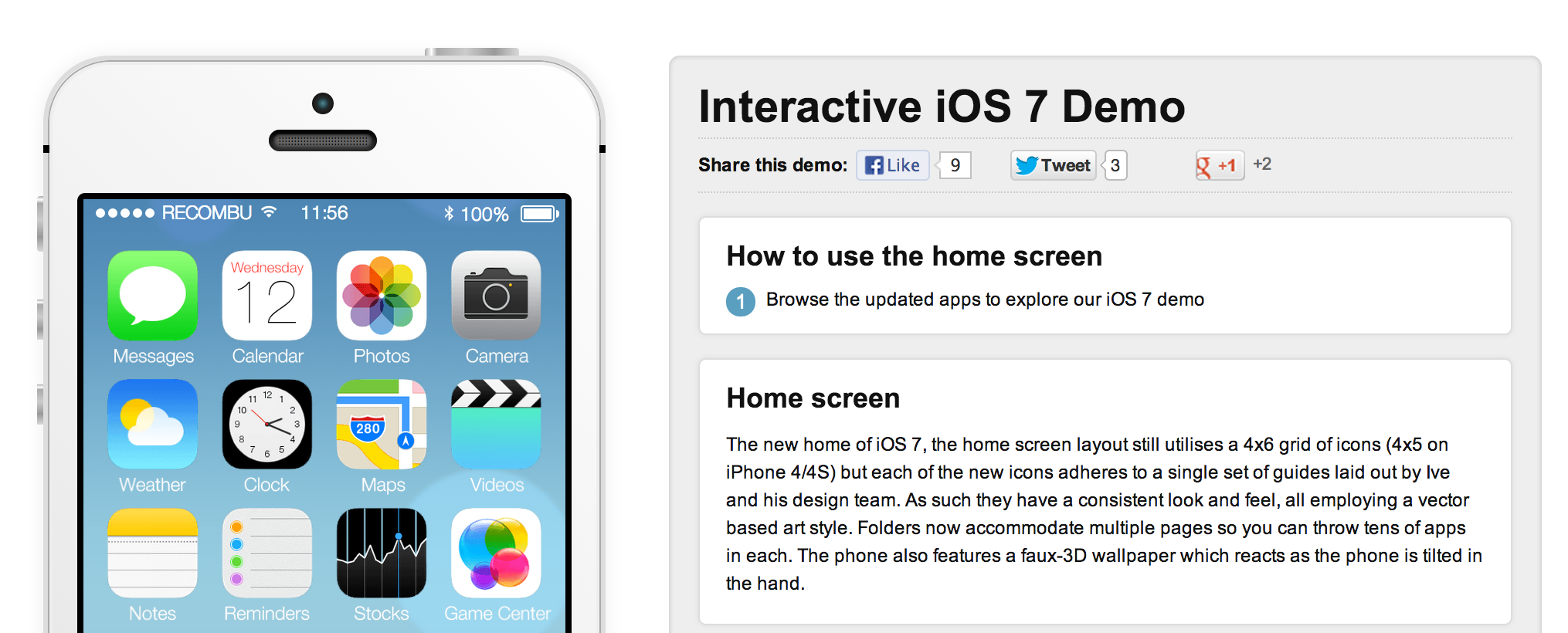 Interactive iOS 7 Demo
