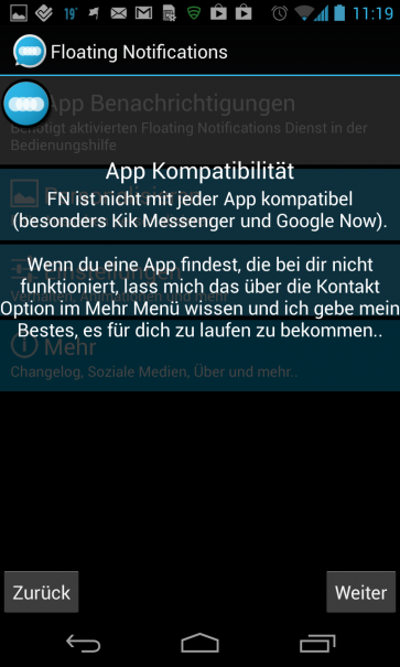 Floating Notifications Kompatibilität