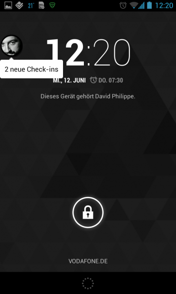 Floating Notifications Beispiel Lockscreen
