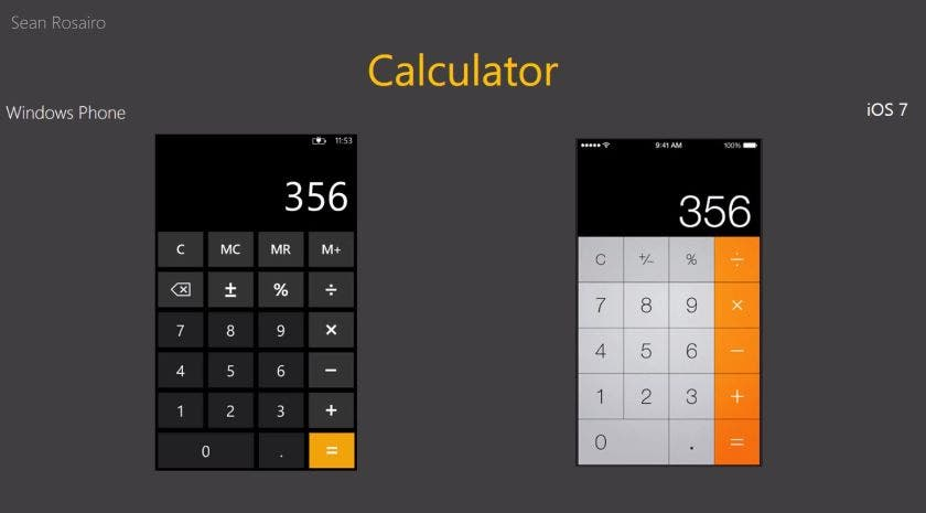 Windows Phone 8 vs iOS 7 Calculator