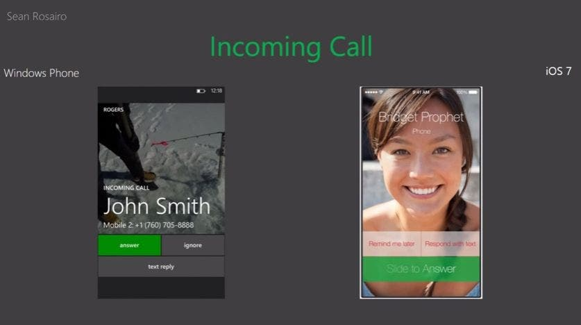 Windows Phone 8 vs iOS 7 Incoming Call