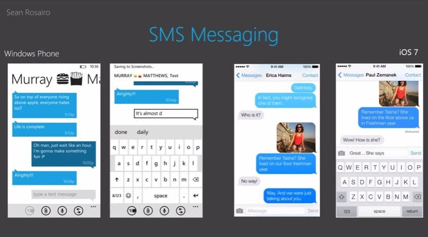 Windows Phone 8 vs iOS 7 SMS