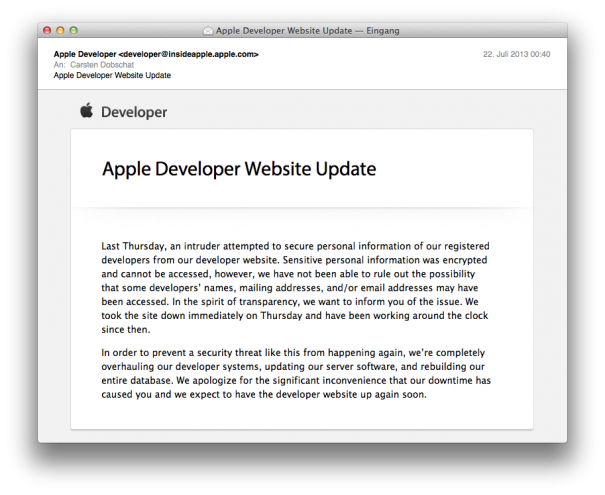Apple Developer Mail