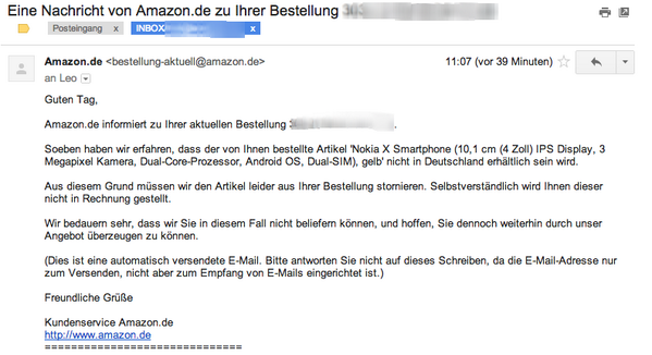 nokia x amazon stornierung