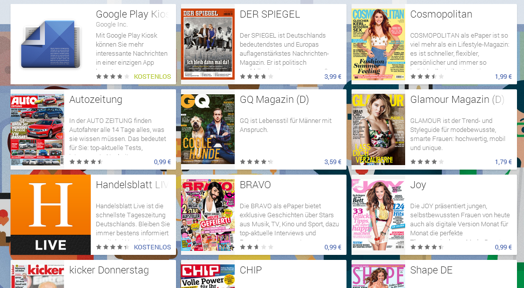 Google Play Kiosk Magazine