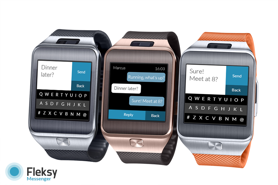 fleksy sms app f r samsung gear 2 smartwatch. Black Bedroom Furniture Sets. Home Design Ideas