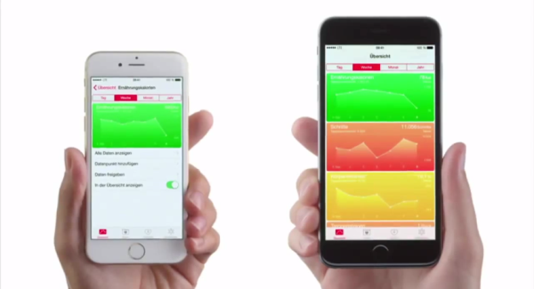 iPhone 6 vs iPhone 6 Plus HealthKit Werbung