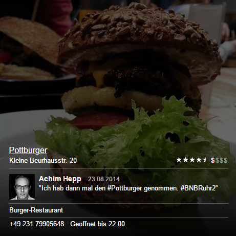 Facebook Places Übersicht des Restaurants Pottburger