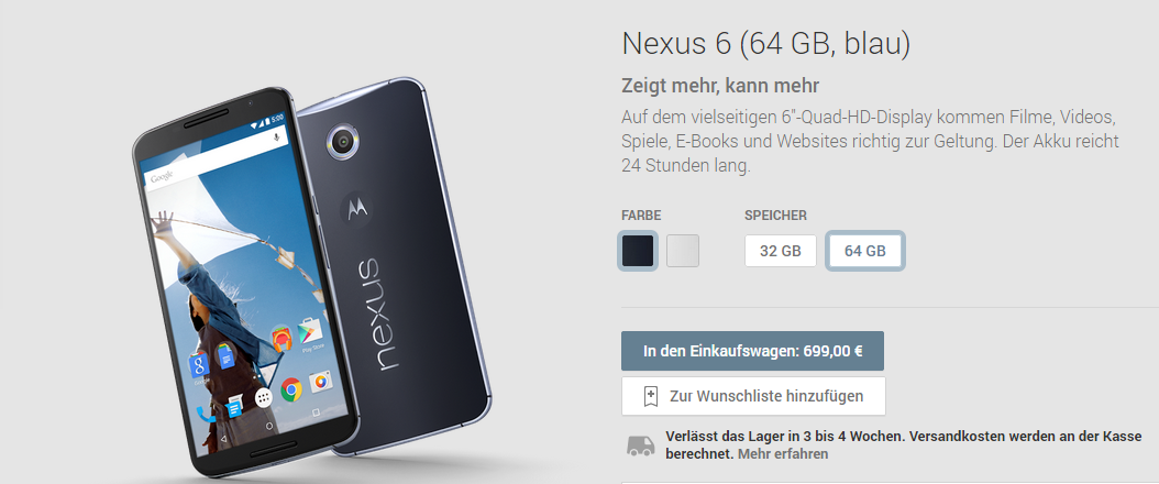 Nexus 6 Google Play Deutschland