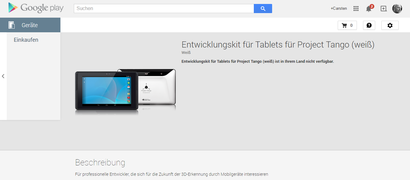 Project Tango in weiß bei Google Play