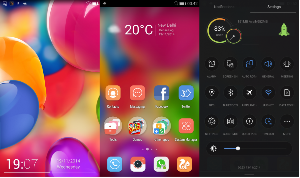 Gionee Elife S5.1: Lockscreen/Homescreen/Settings