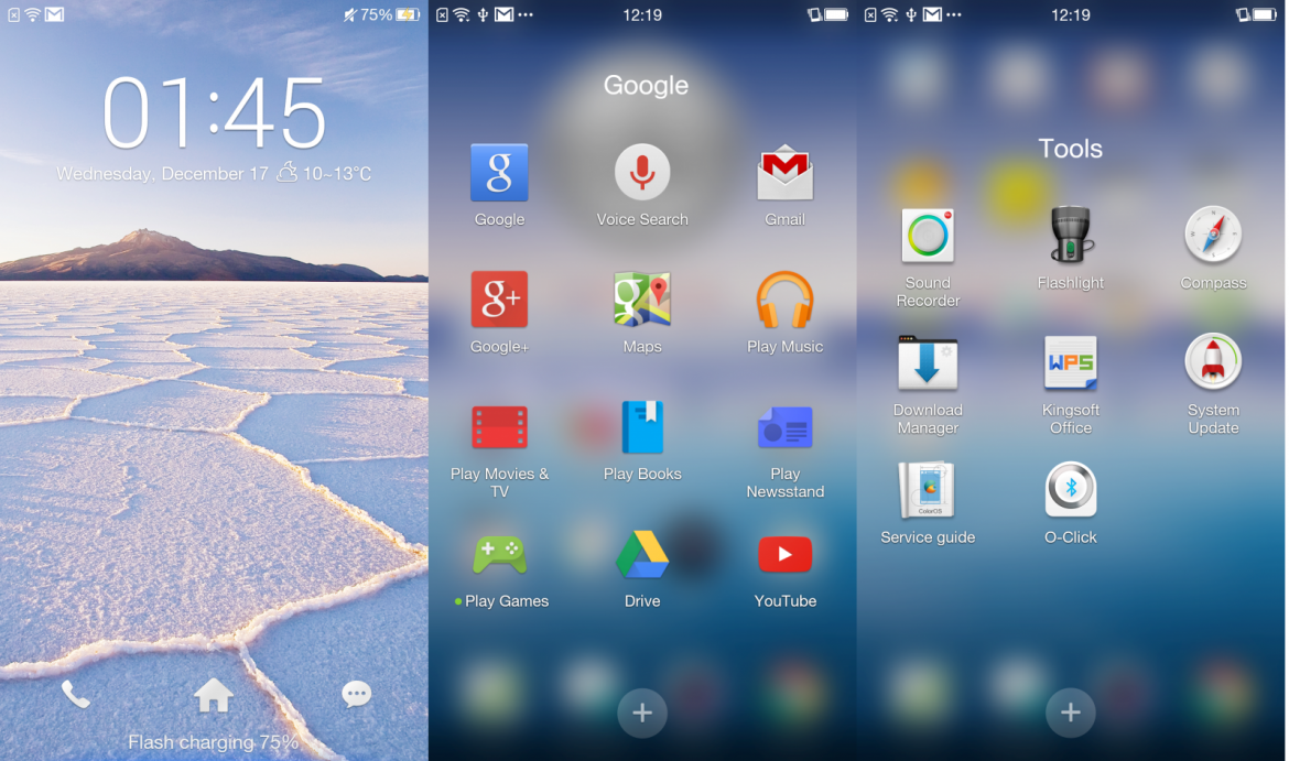 Color OS: Homescreens und Lockscreen
