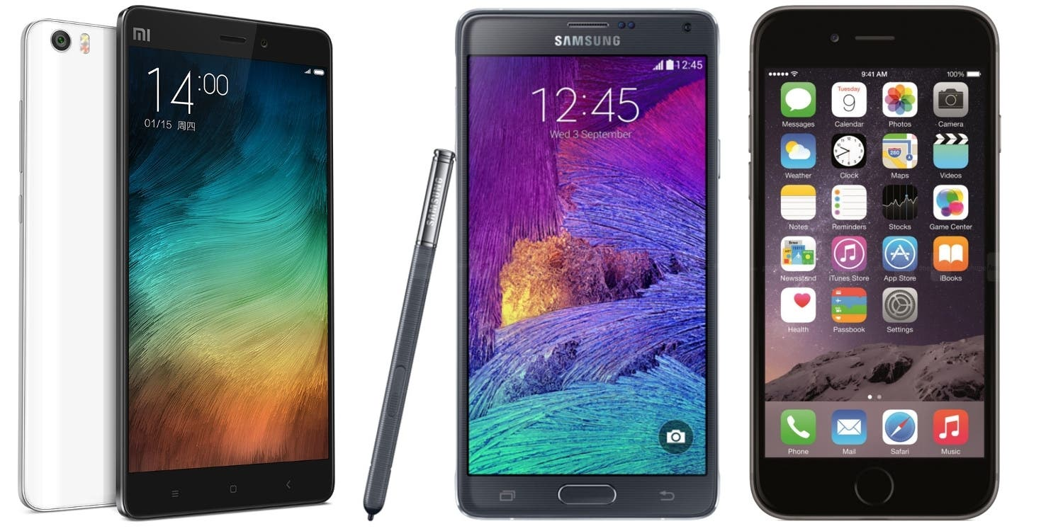 Xiaomi Mi Note Pro vs Samsung Galaxy Note 4 vs Apple iPhone 6 Plus trans