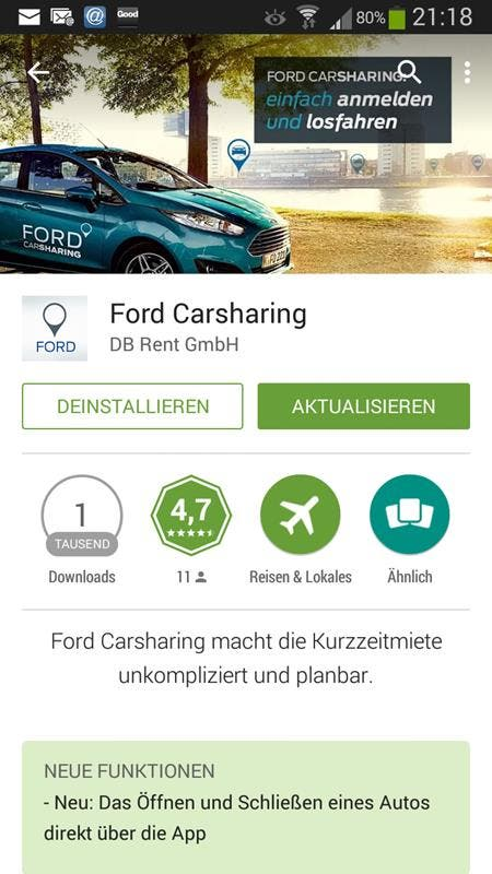 Ford Carsharing App Anzeige