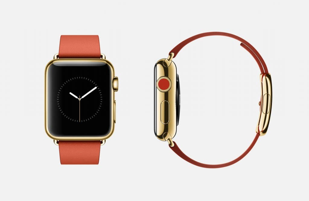 Apple Watch Gold Edition mit rotem Armband