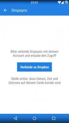 Dropsync Android Backup Schritt 1