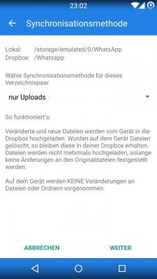 Dropsync Android Backup Schritt 4
