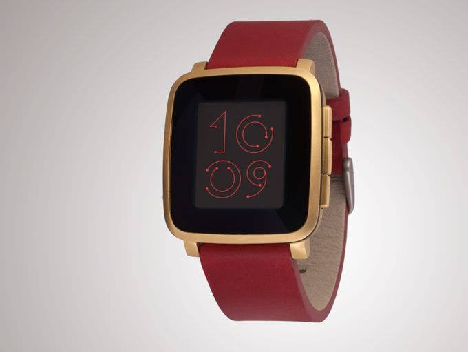 Gold Pebble Time Steel with red leather strap