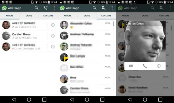 WhatsApp Screenshots der Telefonie-Funktion