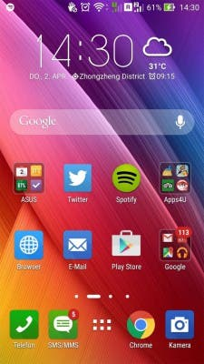 ASUS Zenfone 2 Screenshot ZenUI Homescreen